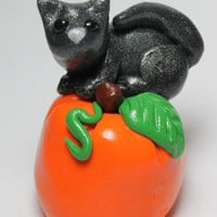 Halloween Kitten and Pumpkin Miniature Sculpture