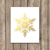 Faux Gold Foil Snowflake Wall Art - Christmas Printable Home Decor - Winter Digital Art Print - INSTANT DOWNLOAD