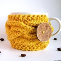 Honey Yellow Cup Cozy, Mustard Mug Cozy, Coffee Cozy Sleeve - Bee Yolk Lemon Saffron Banana Citrine