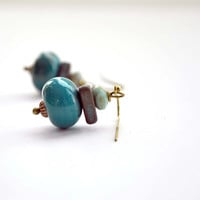 Bohemian Earrings, Teal Earrings, Lampwork Earrings, Artisan Jewelry, Earthy Earrings, Glass Earrings