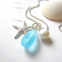 Sea glass necklace in Sky  Blue with Fresh water pearl & silver plated starfish