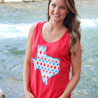 Texas Tribal Blue and White Tank Top - Red