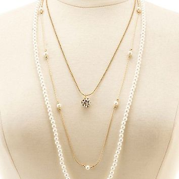 Rhinestone & Pearl Layered Necklace by Charlotte Russe - Gold