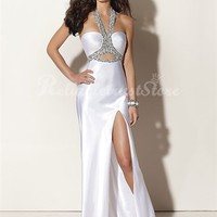 Trendy Sheath/Column Halter Floor Length Satin Prom Dress-$238.98-ReliableTrustStore.com