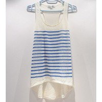 Women Euro Style Forever 21/F1 Net Visiable Front Short Back Long All Matched Blue Stripe Knitting Vest S/M/L@II1007bl $7.99 only in eFexcity.com.