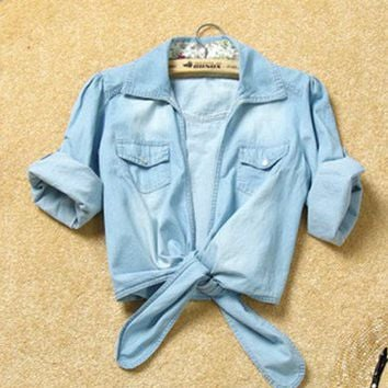 Women Summer New Lower Hem Knotted Middle Sleeve Casual Jean Blue Jean Shirt One Size@II1015bl $12.92 only in eFexcity.com.