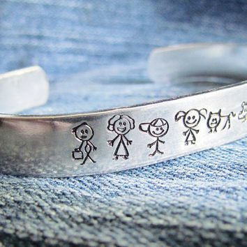 Stick Family Bracelet Hand Stamped Custom Cuff Aluminum Dad Mom Girl Boy Baby Dog Cat