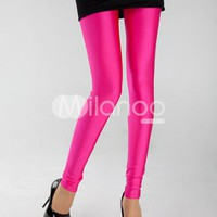 Glittery Fuchsia Nylon Yarn Womens Fluorescent Leggings -  Milanoo.com