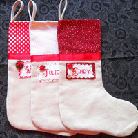 Family of 3,Shabby Chic Linen Christmas Stocking., Christmas Stocking, Handmade Christmas Stocking