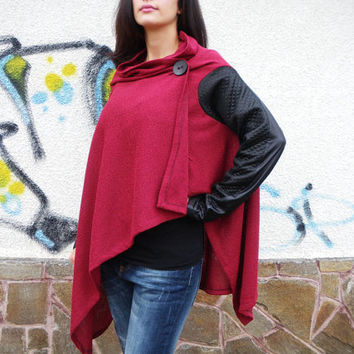 NEW Collection Red Asymmetric Extravagant Vest / Long Sleeves Loose Shirt /Casual Warm Winter Top / Handmade Vest by moShic B003