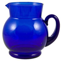 LavishShoestring | Vintage English Bristol Blue Glass Water Jug or Pitcher