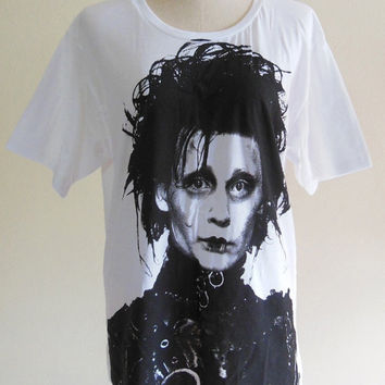 Edward Scissorhands Shirt Johnny Depp Actor Film Movie -- Johnny Depp Shirt Women Shirt Men Shirt White Tee Shirt Size M