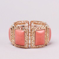 Square Stone Stretch Bracelet in Apricot