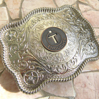 Letter T Thoughts Token Silver Belt Buckle,Rhinestone Western Belt Buckle,Happy Thoughts Mens Womens Monogrammed Belt Buckle, Real