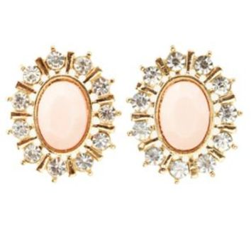 Rhinestone-Trimmed Faceted Stone Earrings - Pale Peach