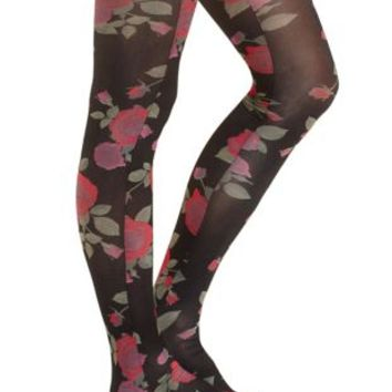 Floral Print Tights by Charlotte Russe - Floral