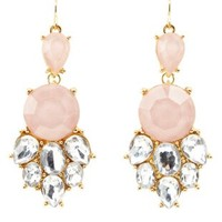 Glitter Stone Statement Earrings by Charlotte Russe - Lt Pink