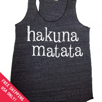 HAKUNA MATATA  Eco Heather Racerback Tank Top Alternative Apparel Free Shipping