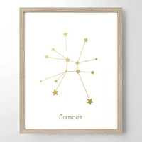Zodiac Sign Astrology Faux Gold Foil Art Print- Minimalist Art - Home Office Bathroom Decor- Wedding gift - College Dorm Room - Work Decor