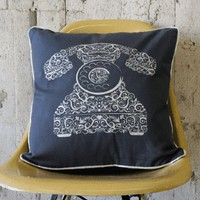Silver Traditional Telephone on Grey Cushion