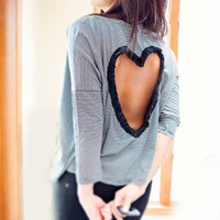 Heart Cut out Shirt Made to order Upcycled Heart shirt  Back Cut Out Shirt