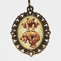 Bears Hopping Necklace, Bears, Bear Jewelry, Bear Necklace, Oval Pendant
