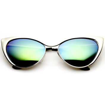Elegant Womens Metal Cat Eye Sunglasses With Flash Color Revo Lenses 9437