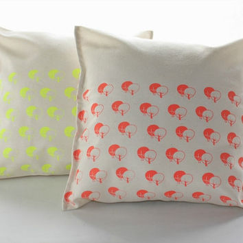 Neon Pillow covers - Screen printed cushion covers, trees pattern in yellow or coral.