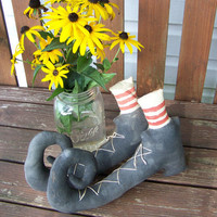 Primitive Grungy Fabric Pair Of Witch&#x27;s Boots For Halloween