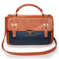 Chic Navy Blue and Tan Handbag -Two-Tone Handbag - Vegan Leather Handbag - $50.00