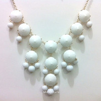 Free Shipping &amp; Gift Wrapping, Bubble Necklace, Bubble Statement Necklace, New Pure White Bubble Necklace, J Crew Inspired, Pure White