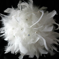 Simply Elegant Full White Feather Bouquet Custom Design Bouquet Bridal Bouquet Wedding Bouquet