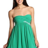 criss cross rhinestone strapless junior homecoming dress - debshops.com