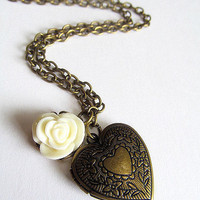 Antique Bronze Heart Locket Necklace