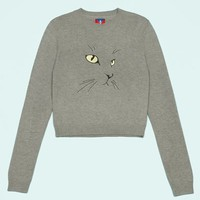 OPENING CEREMONY EXCLUSIVE CAT EMBROIDERED SWEATER - WOMEN - TOPS - SWEATERS & KNITS - OPENING CEREMONY