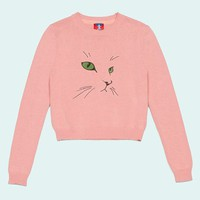 OPENING CEREMONY EXCLUSIVE CAT EMBROIDERED SWEATER - WOMEN - TOPS - SWEATERS &amp; KNITS - OPENING CEREMONY