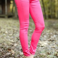 Sugar Coated Jeggings-Coral