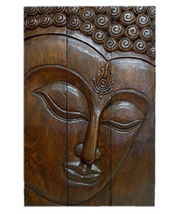 Full Size Acacia Wood Three-Panel Buddha Face (Thailand) | Overstock.com