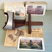 Stereoscope w/ 99 viewing cards DC, NYC, Philly