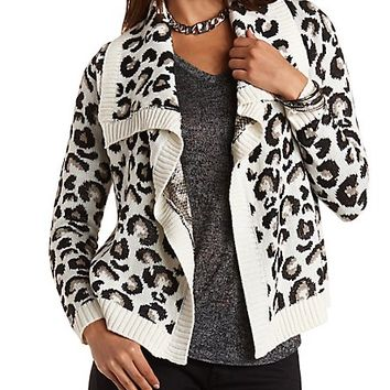 Leopard Print Cascade Cardigan by Charlotte Russe - Ivory Combo
