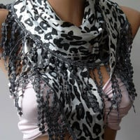Elegance  Shawl / Scarf with Lacy Edge  -  leopard--