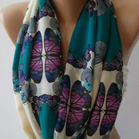 Infinity Scarf Loop Scarf Circle Scarf - Elegant - Chiffon /Dance of the Colors Collection, by womann.Butterfly Patterned