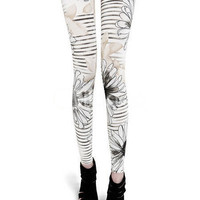 White Lotus Printed Polyester Womens Leggings -  Milanoo.com