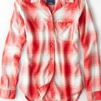 AEO 's Plaid Boyfriend Shirt (Orange)