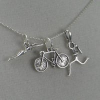 SWIM BIKE RUN Tri - 16 inch Sterling Silver Triathlete Necklace - Triathlon Jewelry on 16 inch Sterling Silver chain