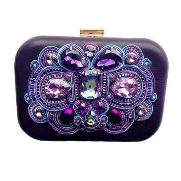PURPLE REIGN leather box purse with soutache embroidery and Swarovski crystals. Free international shipping!