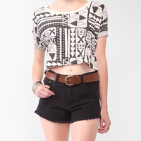 Cropped Tribal Print Tee