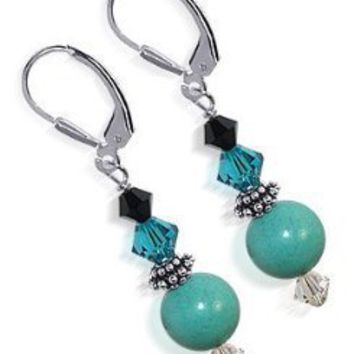 SCER120 Sterling Silver Enchanting 10mm Turquoise Crystal Earrings Made with Swarovski Elements: Jewelry: Amazon.com