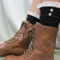 Prairie Girl eyelet lace socks black