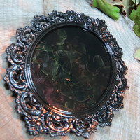 "Scrying Mirror, Small Black Scrying Mirror,5.5 X 4 "", Samhain Altar, Divination, Magick, Witchcraft, Psychic Visions,Vintage Picture Frame"